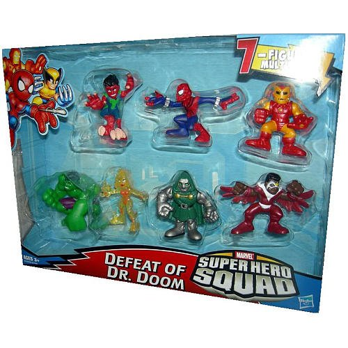 Marvel Superhero Squad Mini Figure 7Pack Defeat of Dr. Doom Volcana, Reptil, Falcon, SpiderMan, Hulk, Iron Man, Dr. Doom ()