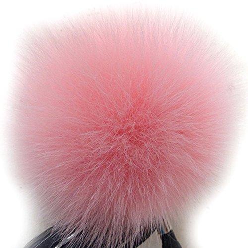 UPC 726630174569, Dikoaina Faux Fox Fur Pom Pom Keychain Bag Purse Charm Gold Ring Fluffy Fur Ball, Pink, One Size