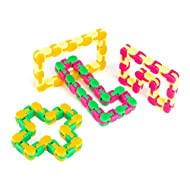 Neliblu Snappy Tracks Snap and Click Fidget Toys for Sensory Kids - Snake Puzzles, Assorted Colors, Pack of 4