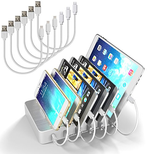 Price comparison product image USB Charging Station for Multi Device with Cables Desktop Organizer with Switch MSTJRY 6 Port Quick Charging Dock for Iphone Apple Ipad etc (White, 3 Lightning & 3 Micro Cables Included)