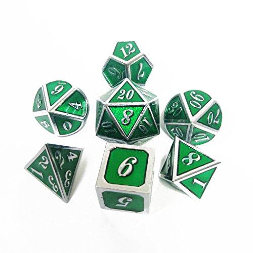 Haxtec 7PCS Green Metal Dice Set D&D Dice Enamel Polyhedral Dice Set D20 D12 D10 D8 D4 for Dungeons and Dragons DND RPG MTG Table Games (Emerald Green) by Haxtec