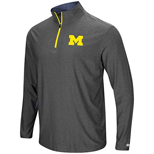 Michigan Wolverines Mens Grey Sweet Spot Pullover 1/4 Zip Synthetic Windshirt (X-Large) Mens Regular Pullover Windshirt