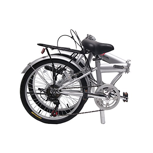 Find a unYOUsual U transformer 20″ Folding City Bike Bicycle 6 Speed Shimano Gear Steel Frame Mudguard Rear Carrier Silver