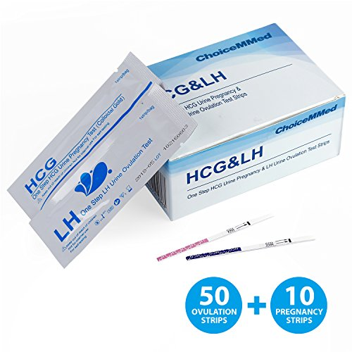 CHOICEMMED 50 Ovulation Test Strips & 10 Pregnancy Test Strips - LH Test Strips as Ovulation Test Kit and HCG Pregnancy Test - FDA Approved - Over 99% Accurate