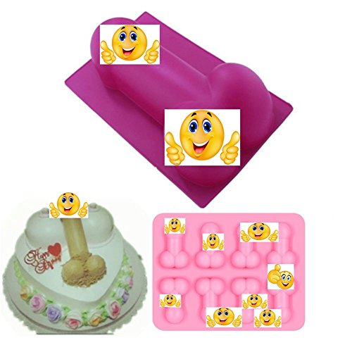 2 Pack Small and Large Cute Shape Cake Silicone Mold for Bachelorette Party Hilarious Funny DIY Chocolate jelly Candy Cookie Fondant Ice Cube Mould Baking Tool Set by Kaqkiasiog