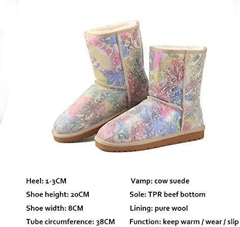 MH Donne di Inverno Snow Boots, Foderato di Pelliccia Stivaletti Caldi Slip On Esterna Impermeabile dei bottini Scarpe comode per Le Donne,Bianca,39