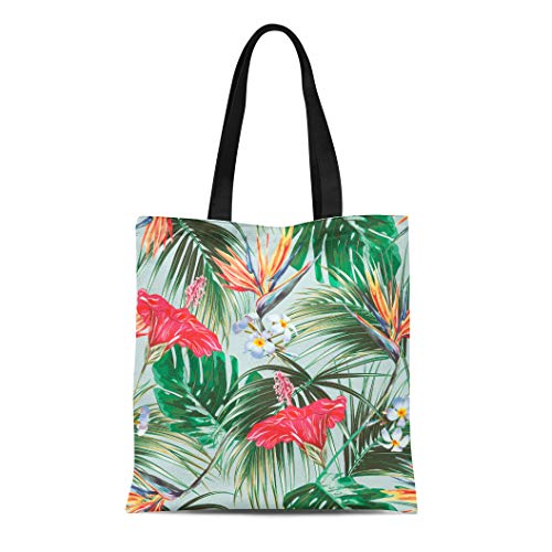 Semtomn Cotton Canvas Tote Bag Floral Tropical Summer Pattern Exotic Flowers Palm Leaves Jungle Reusable Shoulder Grocery Shopping Bags Handbag Printed
