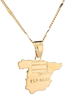 BR Gold Jewelry Collar con Colgante de Mapa de España Chapado en ...