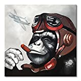 EVERFUN ART Everfun Pilot Gorilla Monkey Canvas Wall Art Abstract Animal Oil Painting Handmade Framed Modern Artwork Home Decoration Living Room Ready to Hang 32x32