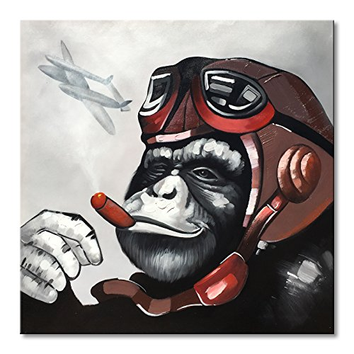 EVERFUN ART Everfun Pilot Gorilla Monkey Canvas Oil Painting Handmade Abstract Animal Wall Art Framed Modern Artwork Home Decoration Kid's Room Ready to Hang 24x24 ()