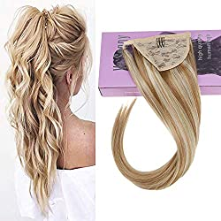 VeSunny 18inch Ponytail Clip in Hair Extensions Human Hair #27 Caramel Blonde mixed Bleach Blonde Highlighted Ponytail Extension Straight 80g/set