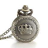 ALPS Women Fashion Casual Crown Pattern Open Face Quartz Pocket Watch