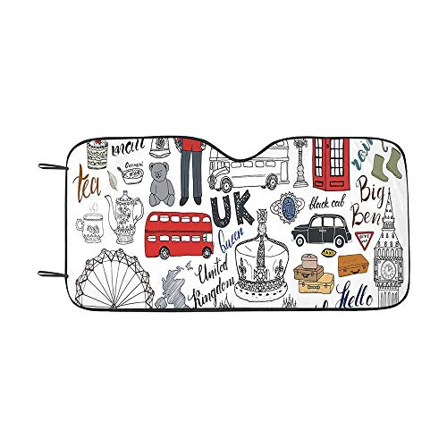 Doodle Durable Car Sunshade,I Love London Double Decker Bus Telephone Booth Cab Crown of United Kingdom Big Ben Decorative for car,55