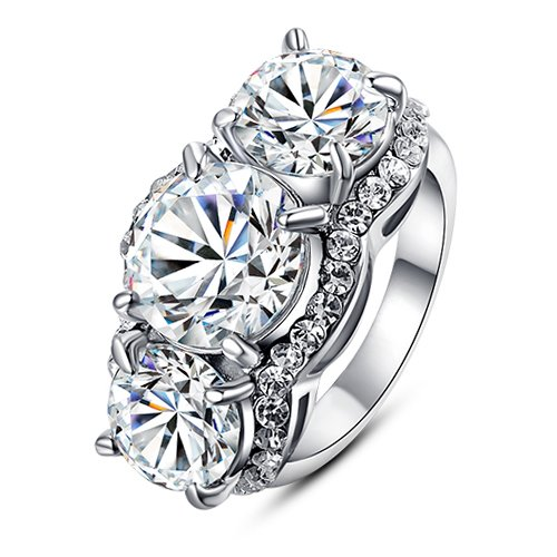 1.5ct Swarovski Element Crystal 18k White Gold Plated Emulational Diamond Ring (8) ()