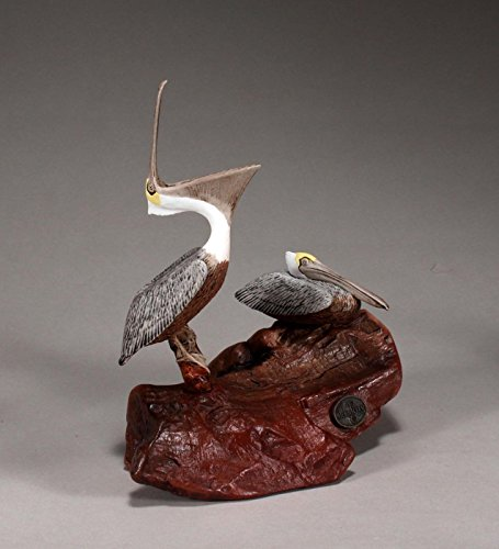 Duo Sculpture (BROWN PELICAN DUO Sculpture by JOHN PERRY Figurine Hand painted 8in Long Medium version)