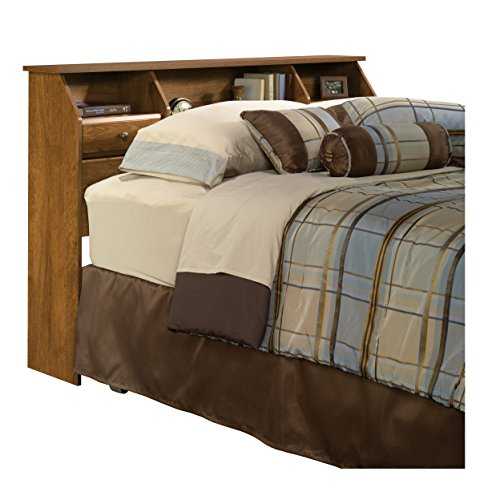 Sauder 410847 Bookcase headboard, Full/Queen, Oiled Oak (Oak Contemporary Headboard)