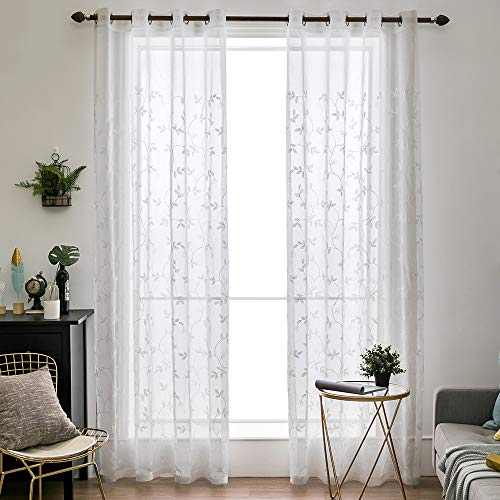 MIULEE 2 Panels Floral Leaves Embroidery Sheer Curtains Grommet Window Curtain Semi Voile Drapes Panels for Living Room Bedroom 54