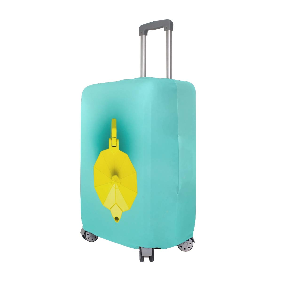 Travel Luggage Cover Color Yellow Teapot Art Suitcase Protector Fits 18-20 Inch Washable Baggage Covers