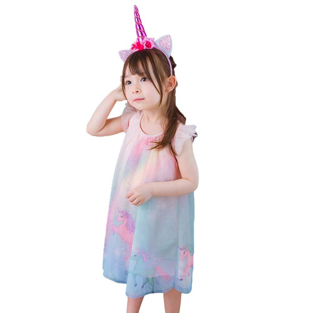 3c83ee3f26 Amazon.com  Unicorn Baby Girl Dress Mesh Colourful Tulle Party Fancy Dress  Sundress Summer Cute Clothing  Clothing
