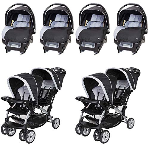 Baby Trend Ally Adjustable 35 Pound Infant Car Seat and Car Base, Stormy (4 Pack) Baby Trend Sit N Stand Infant Toddler Twin Tandem 2 Seat Double Stroller, Stormy (2 Pack)