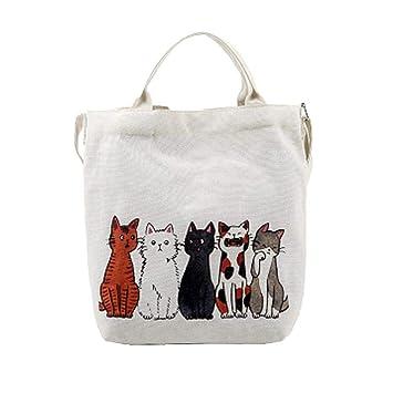 ZHRUI Bolsos de hombro, moda para mujer Gatos de dibujos animados informal Bolso de playa estampado ...