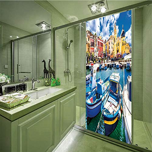 Decorative Privacy Glass Film,Italy,Colorful Procida Island with Fishing Boats Summertime Tourism Vacation Travel Theme Decorative,Multicolor,35.43