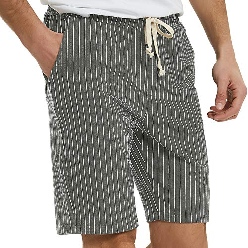 (Men's Casual Athletic Jogging Shorts Drawstring Striped Terry Louging Shorts for Men (XXL, Grey))