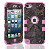 Lantier For iPod Touch 5th Case,Plastic 3 Layer TUFF Hard Cover Camo Triple Hybrid Silicone Quakeproof Drop Resistance Protective Shell Case for iPod Touch 5 5th Generation with Screen Protector and Stylus Pen Brown Branch/Pink