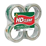 Duck Brand HD Clear High Performance Packaging Tape, 1.88-Inch x 54.6-Yard Roll, Crystal Clear, 4 Rolls (240378)