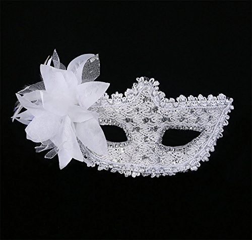 Meelino Venetian Floral Feather Rhinestone Princess Mask Masquerade (Unique Family Costumes Ideas)
