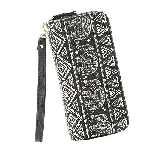 Elephant Zip Wristlet Wallet for Women Bohemian Organizer Clutch Bag Card Holder Ladies Phone Purse