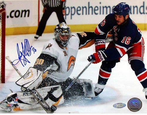 (Ryan Miller Kick Save vs Sean Avery Signed 8x10 Photo - Steiner Sports Certified - Autographed NHL Photos)