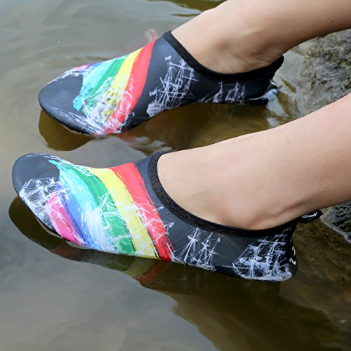 Yoga Skin Beach Running Aqua Colorful Men Scuba Unisex for Quick Water Socks Barefoot Diving Shoes Shoes Women Shoes Snorkeling Swimming QIMAOO Sport Swim Water Dry 5wUTxqOf