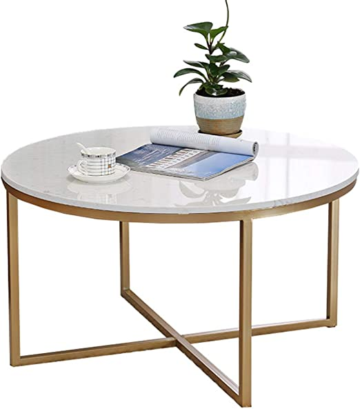 Round Marble Coffee Table Sofa Side End Table Living Room Tea