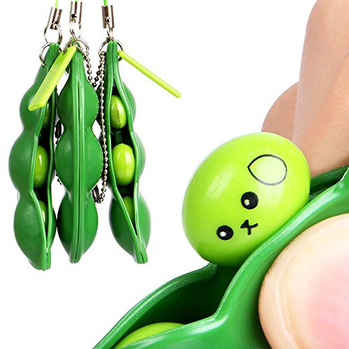 MODAO Toys, Fun Bean Fidget Toy Set Squeeze-a-Bean Soybean,Slow Rising S quishy Toy, Squeeze Bean Stress Relief Fidget Bean Squishies Toys Keychain Improve Focus Toy (Green) -