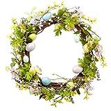 Nantucket Home Blue Glitter Egg Flowers Wreath Easter Spring Decoration, 22-Inch