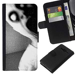 A-type (Dark Scary Monster Black White) Colorida Impresión Funda Cuero Monedero Caja Bolsa Cubierta Caja Piel Card Slots Para Samsung Galaxy Core Prime