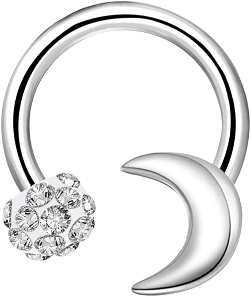 OUFER 16G Surgical Steel Horseshoe Circular Barbell CZ Ball and Moon Daith Earrings Rook Helix Septum Lip Circular Rings