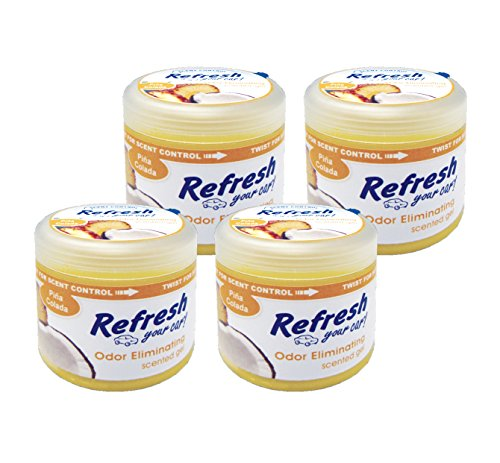 Refresh Your Car! 84931 Scented Gel Can, 4.5 oz Pina Colada, 4-Pack ()