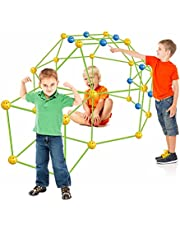 155Pcs Kids Fort Building Kit,Boys and Girls Ultimate Construction Forts Toys STME DIY Crazy Build Castles Indoor & Outdoor Kids Playhouse, Play Tent, Rocket, Castle, Tunnels Tower