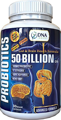 DNA Shift® Probiotics 50 Billion CFU + 100mg PREBIOTIC with 11 LIVE Bacteria Strain Supplement Best for Natural Digestive and Brain Health in Men & Women - Non Refrigerated Probiotic Supplements (Tablets Intensive 90 Care)