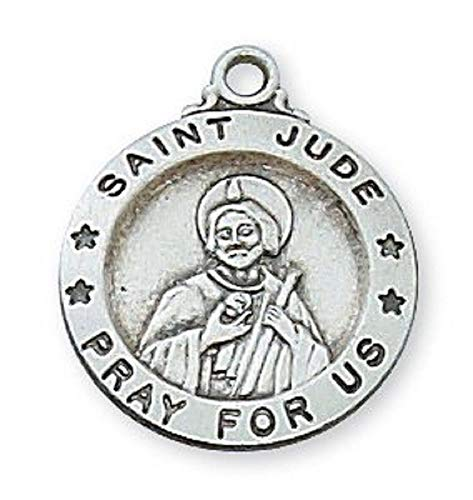 Hail Mary Gifts SS ST. Jude 18' CH & BX, Sterling Silver ST. Jude Medal Patron Saint of Hopeless Cases ENGRAVABLE 18
