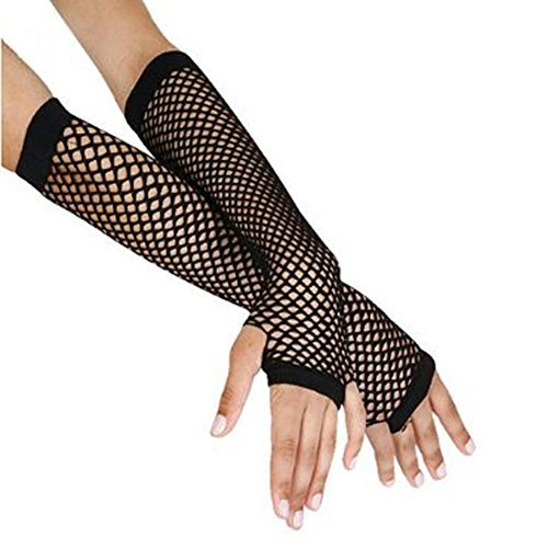[LONG FISHNET GLOVES PARTY FANCY DRESS TUTU (Black) by Gloves] (Neon Party Outfits)