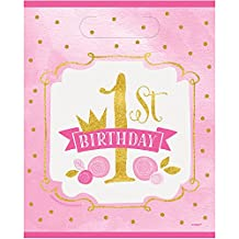 Pink and Gold Girls 1st Birthday Goodie Bags, 8ct