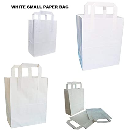 LIVERPOOL ENTERPRISES LTD Bolsas de papel para regalo, color blanco puro de Kraft Sos, tamaño aprox.: 18 x 10,5 x 8 pulgadas (180 + 90 x 205 mm), ...