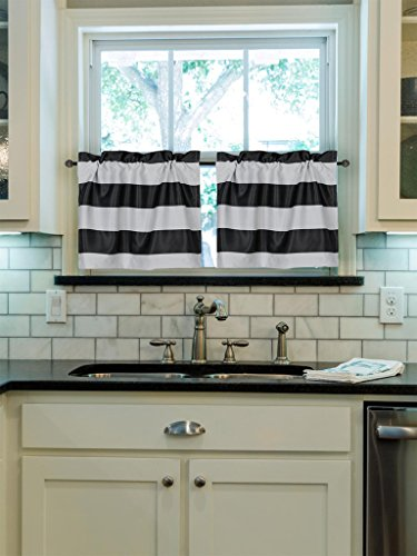 Superior Turquoize Rod Pocket Curtain Tiers, Kitchen Blackout, 29inch W X 24inch L,  Stripes Pattern, Black And White, 2 Pieces