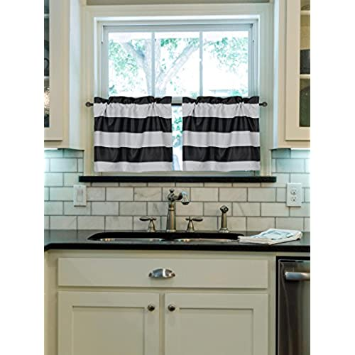 Turquoize Rod Pocket Curtain Tiers, Kitchen Blackout, 29inch W X 24inch L,  Stripes Pattern, Black And White, 2 Pieces