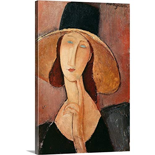 Amedeo Modigliani Premium Thick-Wrap Canvas Wall Art Print entitled Portrait of Jeanne Hebuterne in a large hat, c.1918-19 16