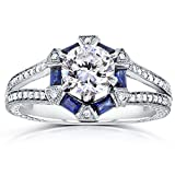 Near-Colorless (F-G) Art Deco Moissanite Engagement Ring with Sapphire & Diamond
