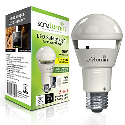safelumin Rechargeable Light Bulbs 3000K Soft White - Emergency Lights for Home Power Failure - Works as Normal LED Bulbs & 3Hrs Battery Backup, UL AC120V E26, 40W Equivalent 500lm